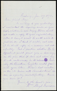Letter from William Lloyd Garrison, Roxbury, [Mass.], to Samuel May, Jan. 27, 1872