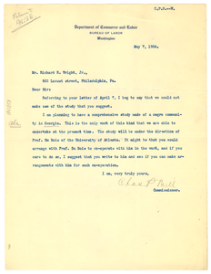 Letter from United States Bureau of Labor to Richard R. Wright
