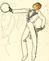 Costume design drawing, male dancer in white tail coat with a tambourine, Las Vegas, June 5, 1980