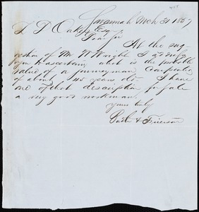 Butler & Frierson, Savannah, Ga., manuscript letter signed to Ziba B. Oakes, 31 March 1857