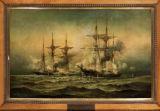 Kearsarge and Alabama off Cherbourg Harbor in France, June 19th, 1864