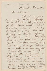 Thomas Wentworth Higginson autograph letter signed to Franklin Benjamin Sanborn, Worcester, 3 February 1860