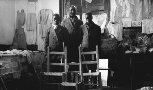 Industrial exhibits. Negro rural school at Court House. Boys with handmade chairs