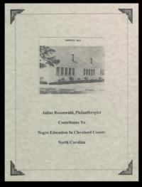 Julius Rosenwald, philanthropist contributes to negro education in Cleveland County North Carolina