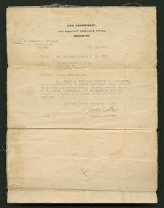 Thumbnail for Letter from the War Department to Cpl. Lawrence Leslie McVey