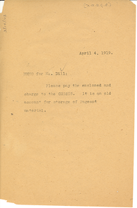 Memorandum from W. E. B. Du Bois to Augustus Granville Dill