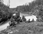 Canyon Hotel waiters and Yellowstone River. Yellowstone National Park.