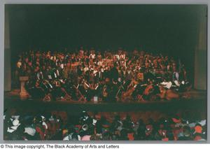 [Long shot of an orchestra ensemble and choir on a stage, with a variety of people sitting in the audience seats] Christmas/Kwanzaa Concert