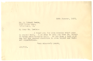 Letter from Augustus Granville Dill to D. R. Lewis