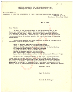 Circular letter from American Association for the United Nations to Walter White