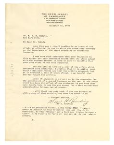 Letter from Sam H. Reading to W. E. B. Du Bois