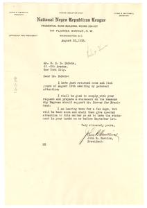 Letter from John R. Hawkins to W. E. B. Du Bois