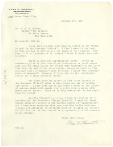 Letter from Charles W. Chesnutt to W. E. B. Du Bois