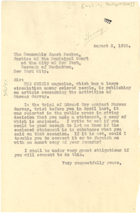 Letter from W. E. B. Du Bois to Justice of the Municipal Court of New York City