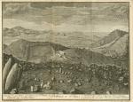 Auf der See zur linken ein Stuck von St. Thomas Westende zur rechten Keyen. Bethanien in St. Jan. In St. Jan zur rechten hinten eine Kleine Plantage, weiterforn die reformirte Kirche, in der Mitte Bethanien