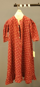 Girl's Burgundy Play Dress of Mary Ellen Underwood made by her Grandmother Sarah Ellen Haynes