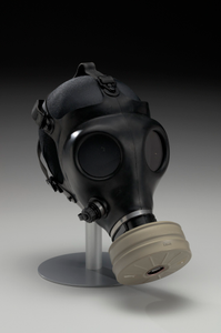 Gas mask with filter canister worn at demonstrations in Ferguson, Missouri