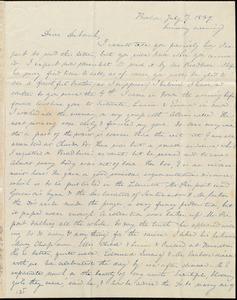 Letter from Anne Warren Weston, Boston, to Deborah Weston, July 7, 1839, Sunday evening