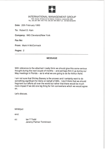 Fax from Mark H. McCormack to Robert D. Kain