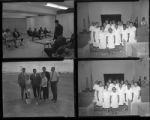 Set of negatives by Clinton Wright including groundbreaking for Teen Center, Zion Missionaries program, Mrs. Gay, Kappas and high school students, drill team, bicycle champion at Kit Carson, Senator Cannon at child care, and adult class, 1965