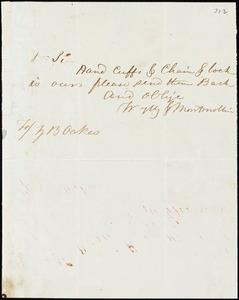 Wylly & Montmollin, Savannah, Ga., manuscript letter signed to Ziba B. Oakes, [May? 1854]