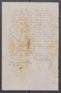 [Bill of sale for a female slave named Sarah and her child Clerrisa] Michael Reed Papers