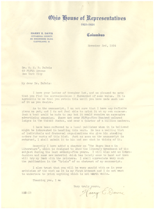 Letter from Harry E. Davis to W. E. B. Du Bois