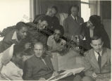 Katherine Dunham, John Pratt and others at Templeton Crocker's home