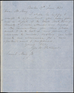Letter from George W. Putnam, Boston, [Massachusetts], to Samuel May, 1851 June 17th