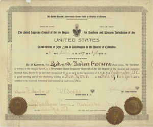 33° certificate issued to Richard Theodore Greener