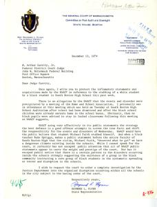 Letter from State Representative Raymond L. Flynn to Judge W. Arthur Garrity