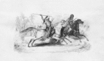 Two men riding on horseback trying to attack each other with spears