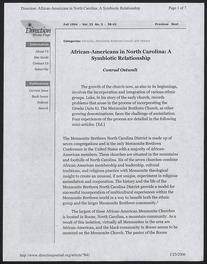 African-Americans in North Carolina: A Symbiotic Relationship by Conrad Ostwalt