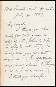 Letter from E. H. Russell, Worcester, [Mass.], to Samuel May, July 4, 1887
