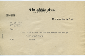 Letter from Sun to W. E. B. Du Bois