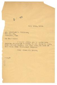 Letter from W. E. B. Du Bois to Bradford G. Williams
