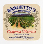 """Wine bottle label, Bargetto's California Malvasia,"""" 1940s"""