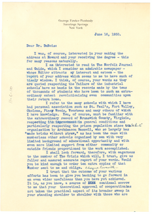 Letter from George Foster Peabody to W. E. B. Du Bois