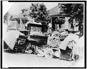 [Furniture in street during race riot, probably due to eviction, Tulsa, Oklahoma, 1921]