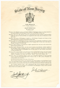 New Jersey Senate Resolution about Carl Lewis and his family