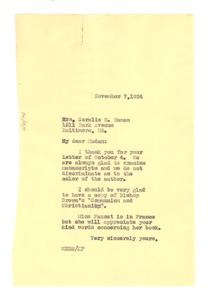 Letter from W. E. B. Du Bois to Coralie H. Haman