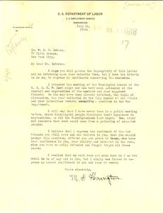 Letter from M. Hovington to W. E. B. Du Bois