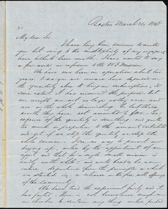 Letter from James Morris Whiton, Boston, [Massachusetts], to Amos Augustus Phelps, 1846 March 21