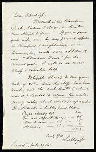 Letter from Samuel May, Leicester, [Mass.], to Charles Calistus Burleigh, July 29 / 61