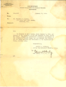 Letter from U. S. War Department to Benjamin F. McAdoo
