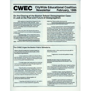 Citywide Educational Coalition newsletter, February, 1986.