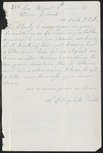 Elizabeth E. Tidd autograph letter signed to [Thomas Wentworth Higginson], Lee [Maine], 1 August [18]60
