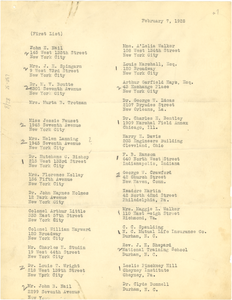 List of guests for the Cullen Du Bois wedding