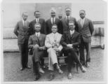Colored Men's Work staff, 1927. Back row, left to right: L.K. McMillan, Wm. C. Craver, J. H. McGrew, R. W. Bullock, F. T. Wilson; Front row, left to right: R. P. Hamlin, Channing H. Tobias, R. B. DeFrantz