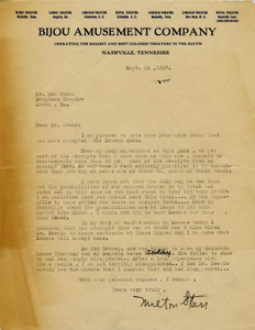 Letter: Nashville, Tennessee to Ben Stein, Macon, Georgia, 1927 Sept. 10